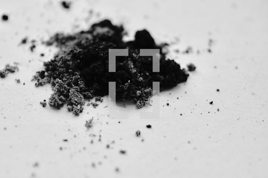 Ashes on a white background