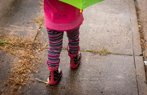 toddler in rain boots