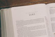 Bible opened to Luke