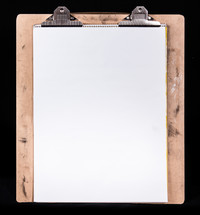 wood clipboard with white paper