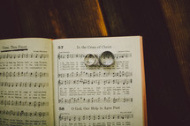 Wedding bands on the pages of a hymnal.