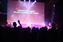 concert, projection screen, man, on stage, audience, worship service, contemporary worship service