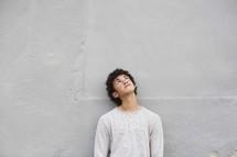 teen boy looking up