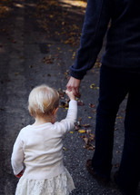 Child holding a parent's hand walking on a path with fall leaves.