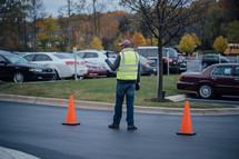 a man directing traffic