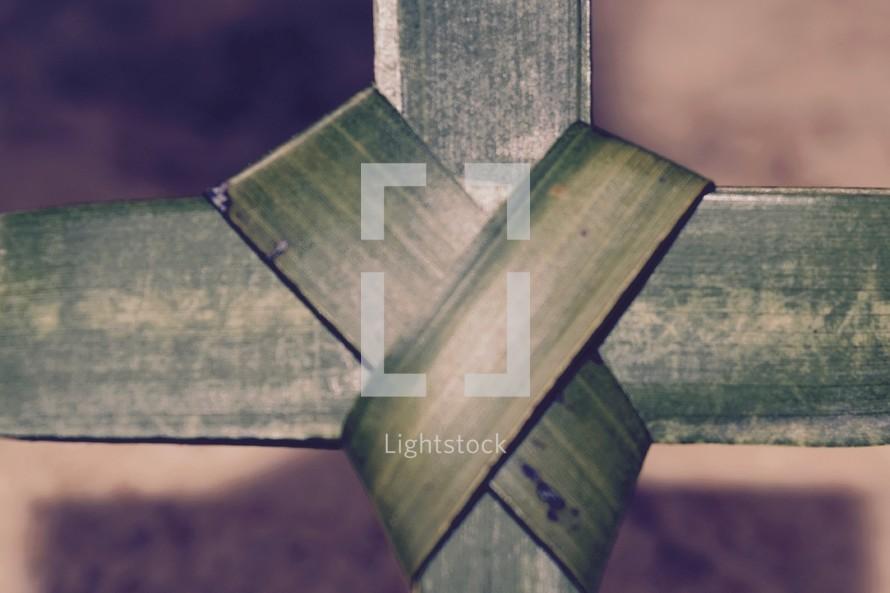 center of a palm frond cross closeup, Palm Sunday