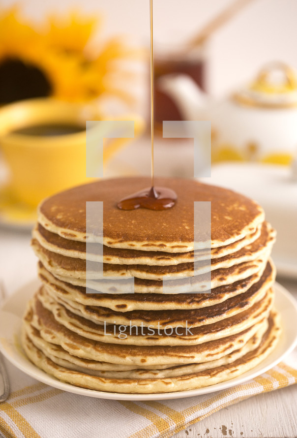 syrup on pancakes