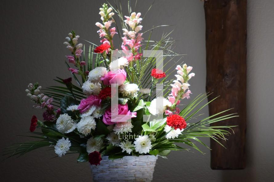 flowers on an altar