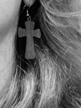 cross as earring, 