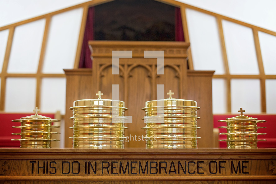Communion Prepared for a Christian Congregation on an altar