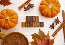 A Thanksgiving Themed Background with Read Fall Leaves