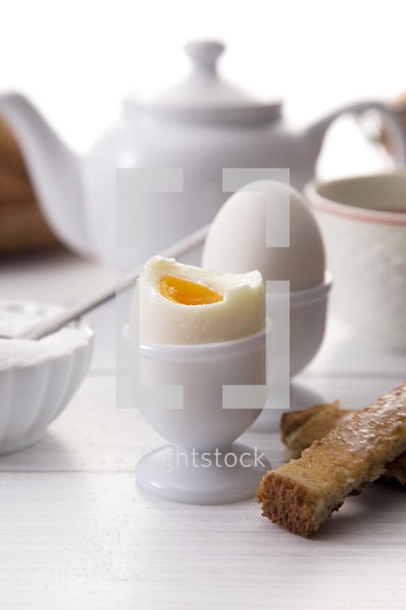 Soft Boiled Egg and Soliders for Breakfast