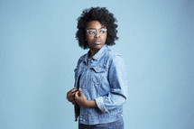 young African American female model posing