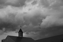 clouds over a church