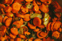 Cooked carrots.