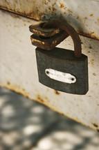 a rusty padlock