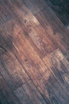 A stained wood floor.