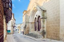 Church of the Incarnation and old street in Valencia de Alcantara, Caceres, Extremadura, Spain