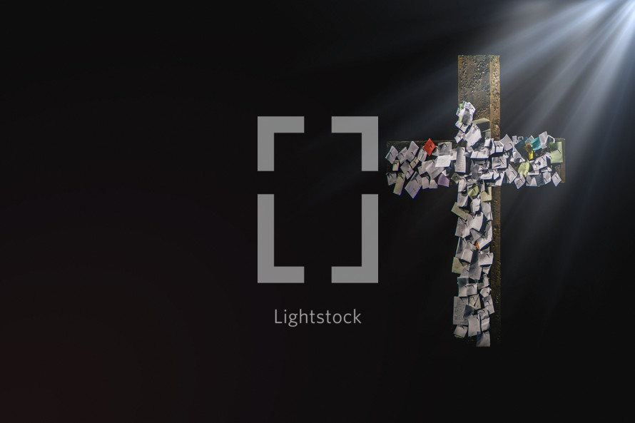 prayers nailed to a cross