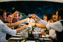 a toast at a wedding reception