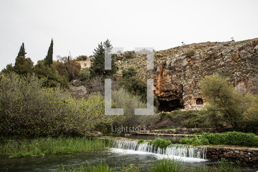 river and waterfall in the holy land