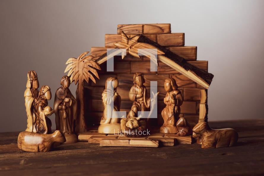 Carved olive wood nativity scene
