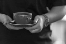 saucer, mug, coffee, spoon, man, holding