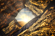 view of three cross through crack in rock