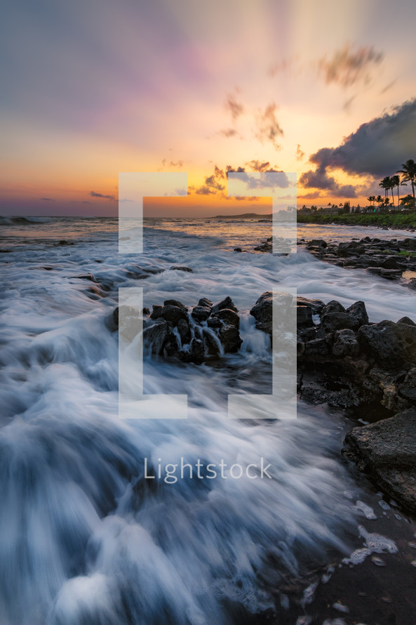 Kauai shore at sunrise