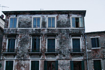 exposed brick on the side of buildings in Venice