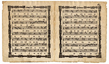 sheet music. Churchly ritual page with musical notes symbols from the very old Slavonic church manuscript book Cercovnyj Obihod isolated on a white background. Page from the choristers' book of church singing of the Russian Orthodox Church. Ancient Russian liturgical manuscript book is written in Church Slavonic language. This book choir sang religious songs.