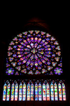 Stained Glass in Notre Dame, Paris, France.