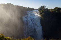 Victoria falls and mist in the morning