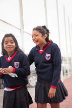 school girls in uniforms in La Serena, Chile