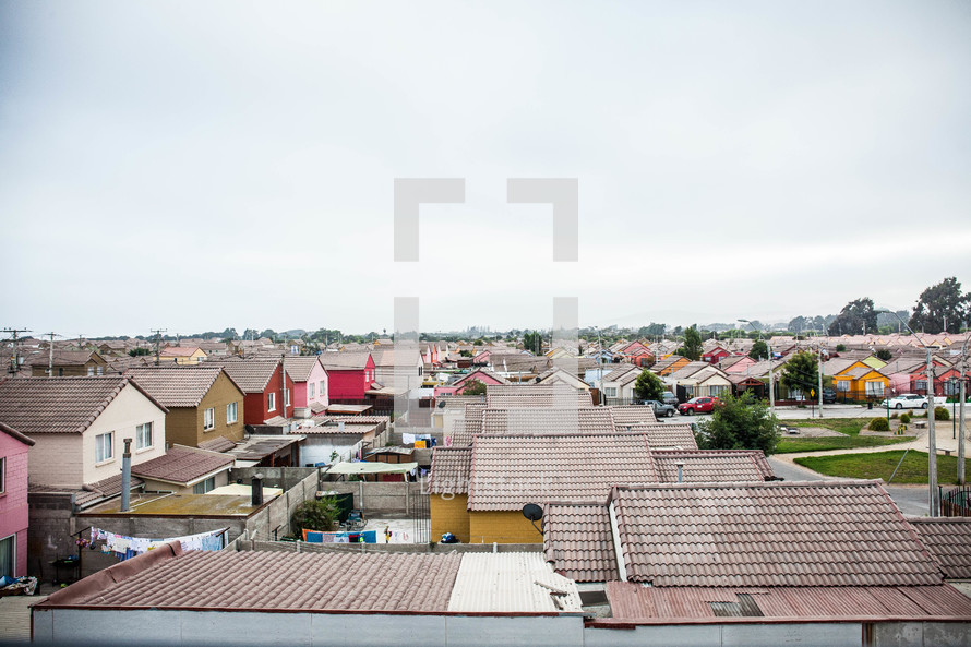 roofs of homes in a neighborhood in La Serena, Chile