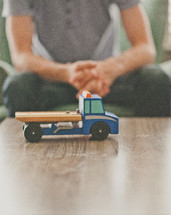 a toy truck on a table