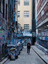 graffiti covered alley
