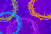 crown of thorns background on purple