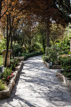 stone path in a garden in Jerusalem