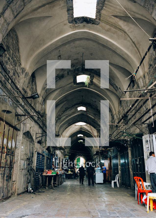 street market in an alley