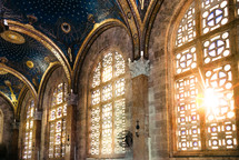 sunlight, hanging, grand, ceiling, cathedral, windows, columns, stained glass windows, church, interior