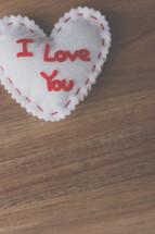 felt heart with words I love you