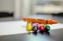 crayons on white paper