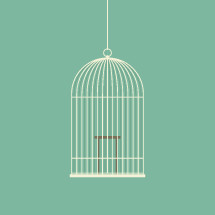empty bird cage illustration.