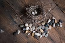 stones and bird's nest