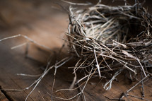 bird's nest on a wood floor