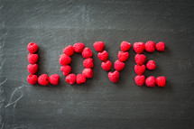 word love in raspberries