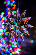star ornament and colorful bokeh lights