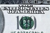 Closeup of a one hundred dollar bill