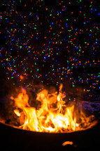 colorful sparks from a fire
